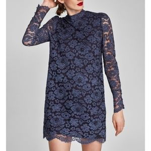 Zara NWT Blue Lace Long Sleeve Shift Dress M